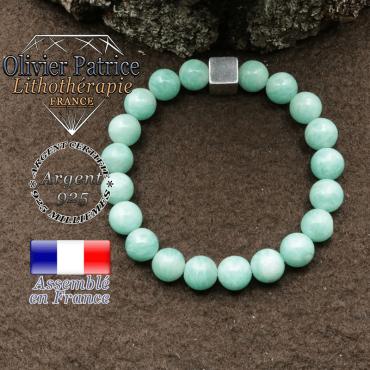Bracelet en amazonite et petit cube 8 mm en argent 925