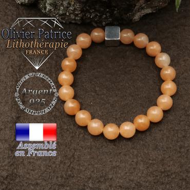 Bracelet aventurine orange et petit cube 8 mm en argent 925