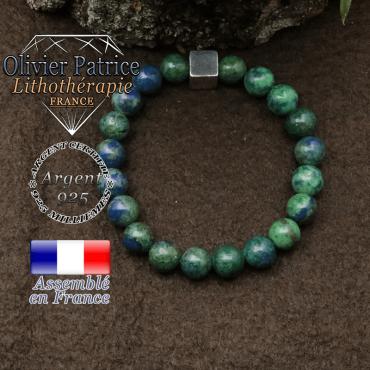 Bracelet azurite malachite et petit cube 8 mm en argent 925