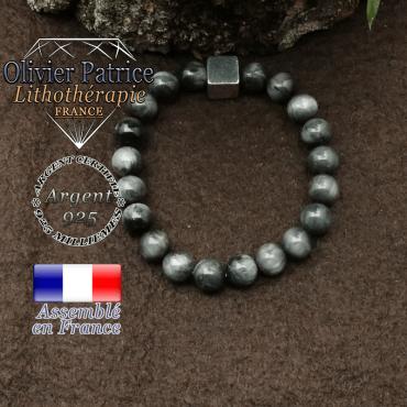 Bracelet pierre d'aigle et petit cube 8 mm en argent 925