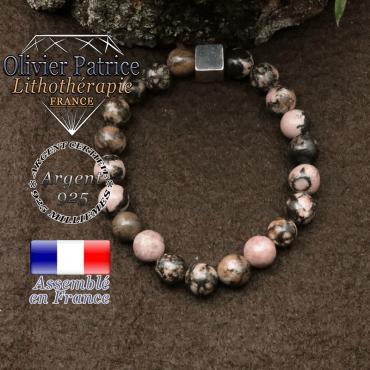 Bracelet rhodonite et petit cube 8 mm en argent 925