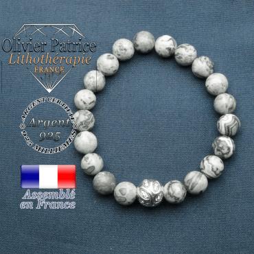 Bracelet surmonté de sa boule gravée de feuilles en argent 925 en pierre naturelle en jaspe crazy lace gris