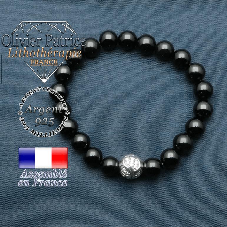 Bracelet surmonté de sa boule gravée de feuilles en argent 925 en pierre naturelle en obsidienne