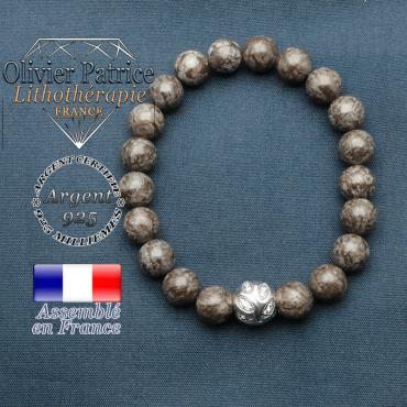 Bracelet surmonté de sa boule gravée de feuilles en argent 925 en pierre naturelle en obsidienne neige brun