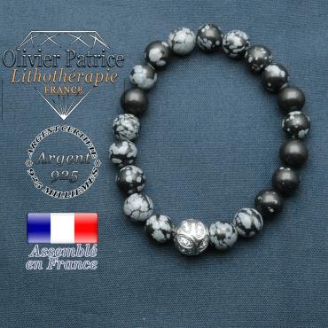 Bracelet surmonté de sa boule gravée de feuilles en argent 925 en pierre naturelle en obsidienne neige