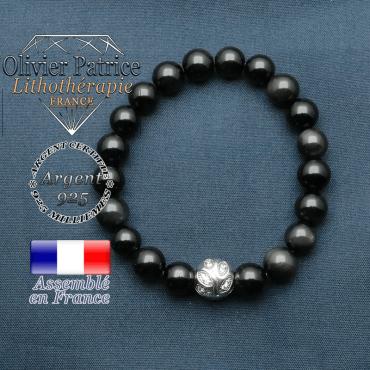 Bracelet surmonté de sa boule gravée de feuilles en argent 925 en pierre naturelle en obsidienne oeil celeste