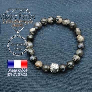 Bracelet surmonté de sa boule gravée de feuilles en argent 925 en pierre naturelle en opale grise