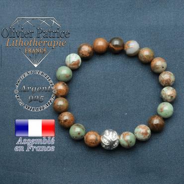 Bracelet surmonté de sa boule gravée de feuilles en argent 925 en pierre naturelle en opale verte africaine