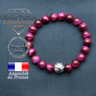 Bracelet surmonté de sa boule gravée de feuilles en argent 925 en pierre naturelle en  oeil tigre teinte violette