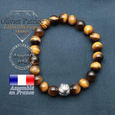 Bracelet surmonté de sa boule gravée de feuilles en argent 925 en pierre naturelle en oeil tigre