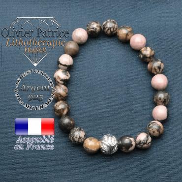 Bracelet surmonté de sa boule gravée de feuilles en argent 925 en pierre naturelle en rhodonite