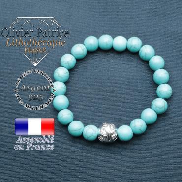 Bracelet surmonté de sa boule gravée de feuilles en argent 925 en pierre naturelle en turquoise