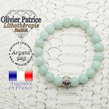Bracelet en jade vert naturel et boule croix templier argent 925