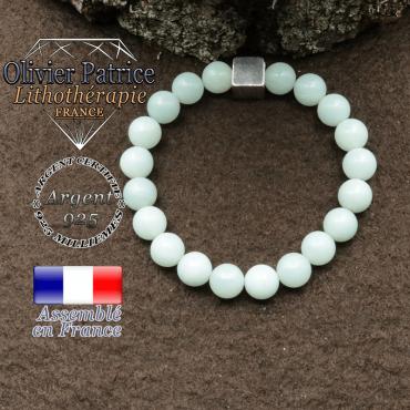 bracelet surmonte de son cube en argent 925 et en pierre naturelle jade vert