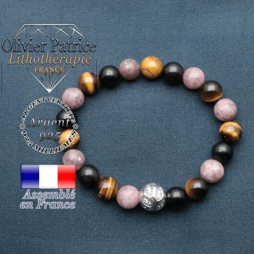 Bracelet protection pour femme avec une boule feuille gravée en argent 925 : lépidolite, oeil de tigre et obsidienne
