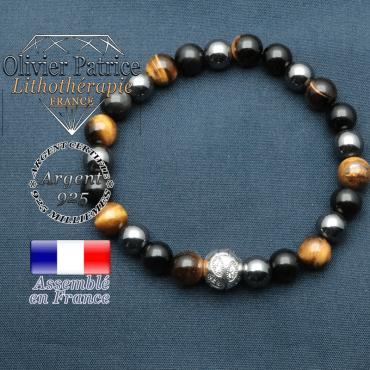 Bracelet de protection homme et boule feuilles gravées en argent 925 : oeil de tigre, hematite, obsidienne