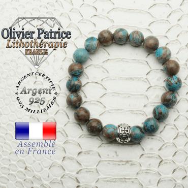 Bracelet agate crazy lace bleu et boule croix templier en 8 mm et argent 925