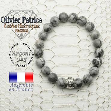 Bracelet jaspe crazy lace et boule croix templier en 8 mm et argent 925
