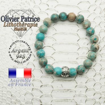 Bracelet agate dentelle et boule croix templier en 8 mm et argent 925