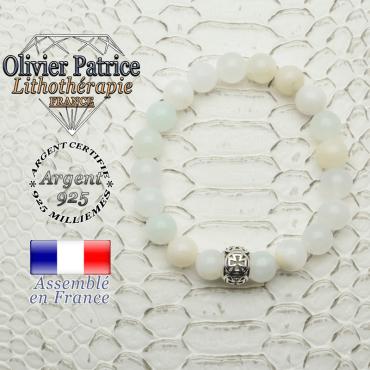 Bracelet opale verte péruvienne et boule croix templier en 8 mm et argent 925