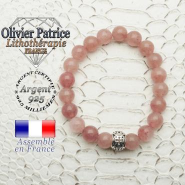Bracelet quartz fraise lépidocrocite et boule croix en 8 mm et argent 925