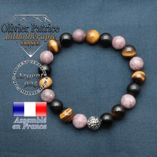 bracelet en pierre naturelle protection lepdilote obsidenne oeil de tigre et sa boule de finition om mani en argent 925