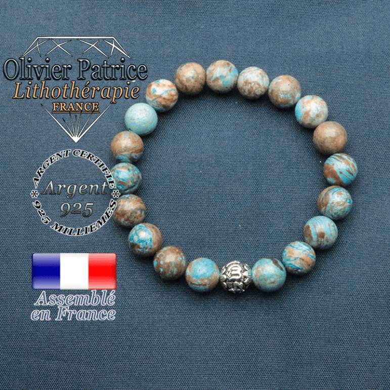 bracelet en pierre naturelle en agate crazy lace bleu et sa boule de finition om mani en argent 925