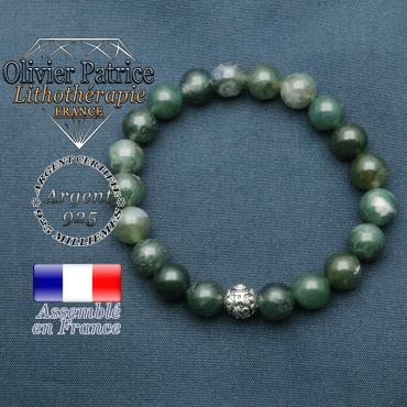 bracelet en pierre naturelle en agate mousse et sa boule de finition om mani en argent 925