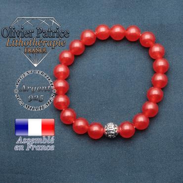 bracelet en pierre naturelle en agate rouge et sa boule de finition om mani en argent 925