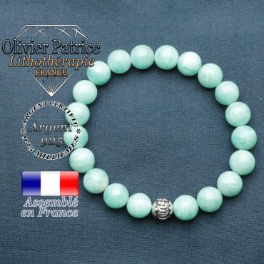 bracelet en pierre naturelle en amazonite et sa boule de finition om mani en argent 925