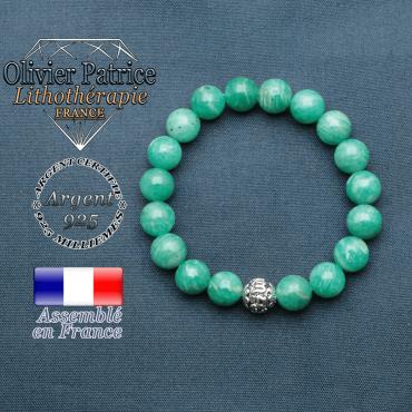 bracelet en pierre naturelle en amazonite de russie et sa boule de finition om mani en argent 925