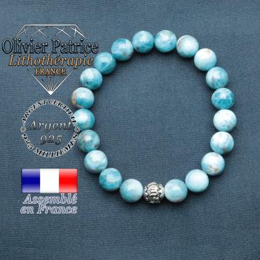bracelet en pierre naturelle en apatite et sa boule de finition om mani en argent 925