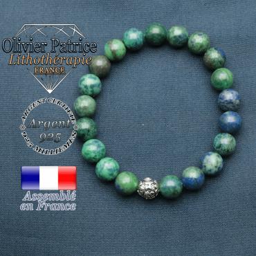 bracelet en pierre naturelle en azurite malachite et sa boule de finition om mani en argent 925