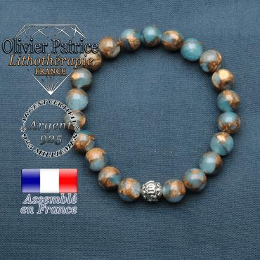 bracelet en pierre naturelle en bornite et sa boule de finition om mani en argent 925