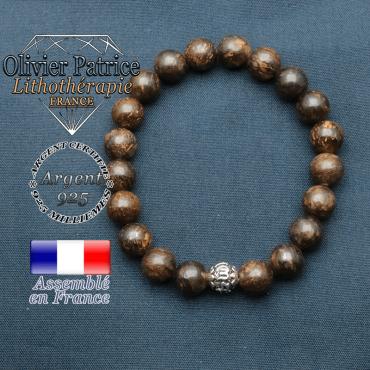 bracelet en pierre naturelle en bronzite et sa boule de finition om mani en argent 925