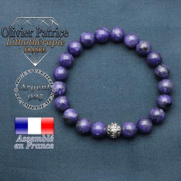 bracelet en pierre naturelle en charoite et sa boule de finition om mani en argent 925