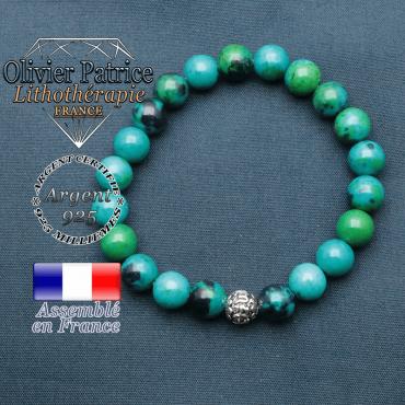 bracelet en pierre naturelle en chrysocolle et sa boule de finition om mani en argent 925