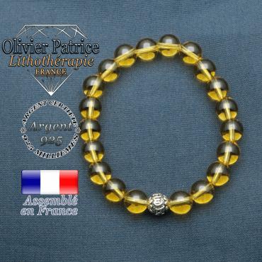 bracelet en pierre naturelle en citrine et sa boule de finition om mani en argent 925