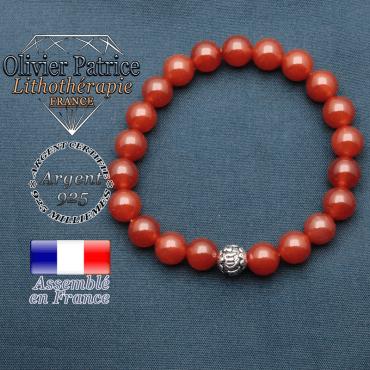 bracelet en pierre naturelle en cornaline et sa boule de finition om mani en argent 925