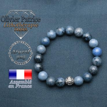 bracelet en pierre naturelle en dumortierite et sa boule de finition om mani en argent 925