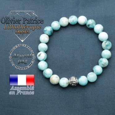 bracelet en pierre naturelle en hemimorphite et sa boule de finition om mani en argent 925