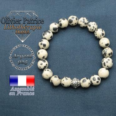 Bracelet jaspe dalmatien et symbole om mani en argent plaqué