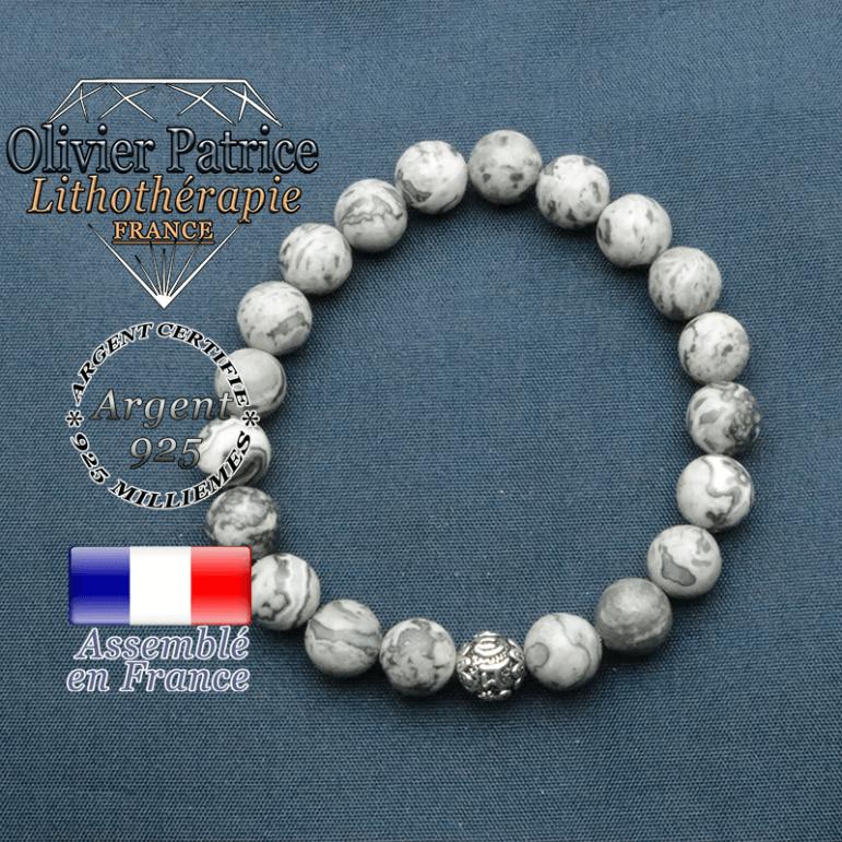 bracelet en pierre naturelle en jaspe crazy lace gris et sa boule de finition om mani en argent plaqué