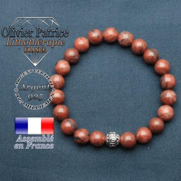 bracelet en pierre naturelle en jaspe rouge et sa boule de finition om mani en argent plaqué