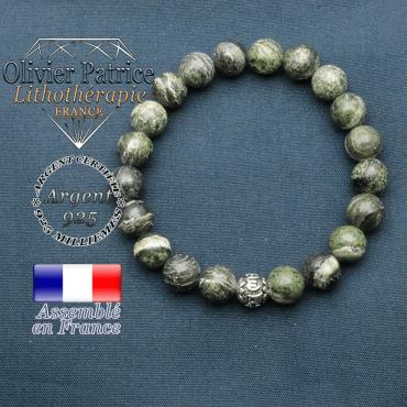 bracelet en pierre naturelle en jaspe verte zèbre et sa boule de finition om mani en argent plaqué