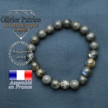 bracelet en pierre naturelle en labradorite et sa boule de finition om mani en argent 925