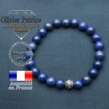 bracelet en pierre naturelle en lapis lazuli et sa boule de finition om mani en argent plaqué