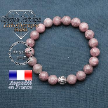 bracelet en pierre naturelle en lepidolite et sa boule de finition om mani en argent plaqué