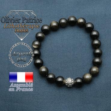 bracelet en pierre naturelle en obsidienne dore et sa boule de finition om mani en argent plaqué