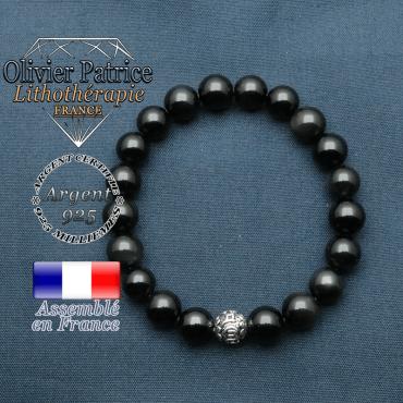 bracelet en pierre naturelle en obsidienne oeil céleste et sa boule de finition om mani en argent plaqué